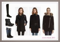 winter blacks 2013, leather detail wool coats, black boots @Valentino @Stuart Weitzman #hunter #rag&bone @Maje #sandro Wool Coats, Maje, Sandro, Hunter Boots, Stuart Weitzman, Black Boots, Valentino, Juice, Fur Coat