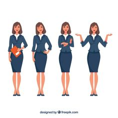 Expressive businesswoman character pack Free Vector