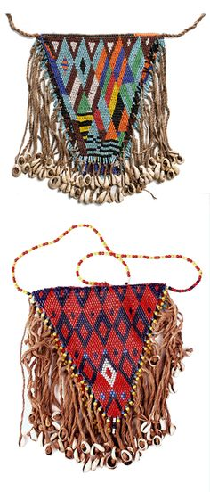 Africa | Woman's armbags from the Kirdi people of Northern Cameroon | Glass beads, cowrie shells and fiber | 20th century