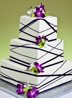 Ribbons wedding cake