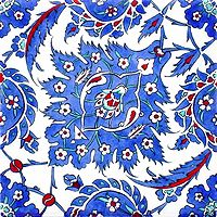 """Persian polychrome floral with delicate black outline, 6"""" $16"""