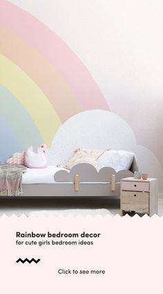 Rainbow bedroom decor for cute girls bedroom ideas, perfect for girls of all ages. Be you a baby girl, teenger or grown adult woman, these pastel rainbow wallpapers will look beautiful when imp Cute Girls Bedrooms, Teenage Girl Bedroom Designs, Bedroom Decor For Teen Girls, Cute Bedroom Ideas, Wallpaper For Girls Bedroom, Childrens Bedroom Ideas, Baby Girl Bedroom Ideas, Adult Bedroom Ideas, Kids Bedroom Ideas For Girls Toddler