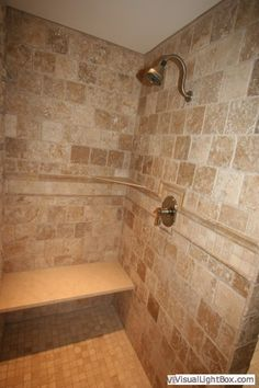 walk in Tile Shower...  Because sometimes I want to sit down while I wash my hair..