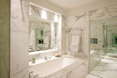 Marble bathroom keeps clean design lines