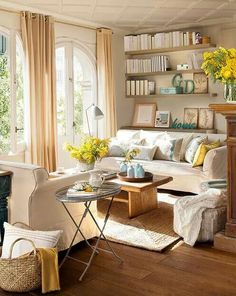 Touch of yellow Provence Style, My Ideal Home, Living Room Grey, Living Rooms, Best Sofa, Home Decor Styles, Outdoor Furniture Sets, Family Room, Sweet Home