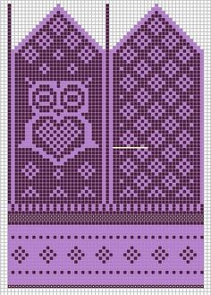 Knitting Patterns Mittens Little sister would want in pink and purple. Most of the time she wants to have pink and purple. Knitted Mittens Pattern, Crochet Gloves, Knitting Socks, Knitting Charts, Knitting Stitches, Knitting Patterns, Crochet Chart, Knit Or Crochet, Owls