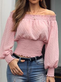 Lantern Sleeve Stringy Selvedge Plain Off Shoulder Long Sleeve Women's Blouse Cheap Womens Tops, Womens Trendy Tops, Look Fashion, Fashion Outfits, Dress Fashion, Blouse Styles, Cute Tops, Stylish Outfits, Blouses For Women