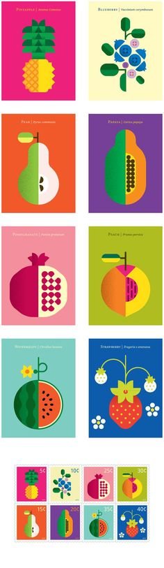 Fruit Poster Illustrations by Christopher Dina - WE AND THE COLOR