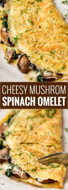 Cheesy Mushroom and Spinach Omelet | This easy browned omelet is filled with sautéed mushrooms, onions, wilted spinach, and plenty of gooey Gruyere cheese!