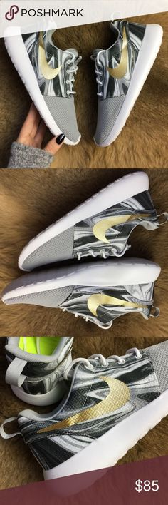 NWT Nike id marble custom roshe Brand new no box Nike id custom made grey with marble and gold swoosh size 7.5 .price is firm Simplicity at its finest. The upper is made of a mix of lightweight and very breathable materials. Full-length Phylon™ midsole with a Solarsoft sockliner supplies premium comfort. The Phylon™ outsole with a Waffle -inspired design makes for excellent traction Nike Shoes Athletic Shoes