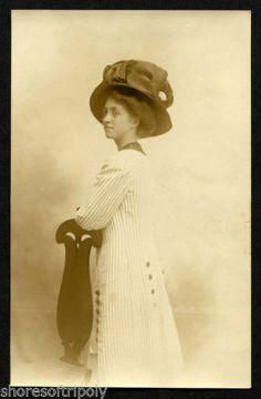 1919 LONG COAT JEWISH LADY BIG HAT~ BOARDWALK EMPIRE ATLANTIC CITY NJ~ORIG PHOTO