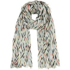 Warehouse Warehouse Zig Zag Print Scarf (49.855 IDR) ❤ liked on Polyvore featuring accessories, scarves, multi and zig zag scarves