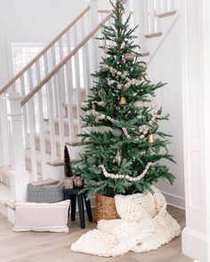 100 Indoor Minimalist Christmas Decorations » Lady Decluttered Noble Fir Christmas Tree, Noble Fir Tree, Beautiful Christmas Trees, Christmas Home, Natural Christmas Tree, Simple Christmas Tree Decorations, Scandinavian Christmas Decorations, Christmas Tree Design, Black Christmas