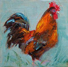 Miniature Oil Paintings | Rooster, Original Mini Oil Painting, Rooster Painting, small Painting ...