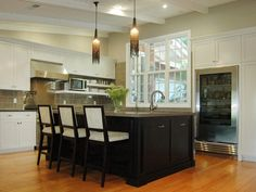 black island - clever cubby for microwave - 79 Beautiful Kitchen Window Options and Ideas on HGTV