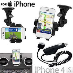 Windscreen & air vent #mount car #cradle #holder & charger for iphone & ipod 4s 4,  View more on the LINK: 	http://www.zeppy.io/product/gb/2/400442239614/