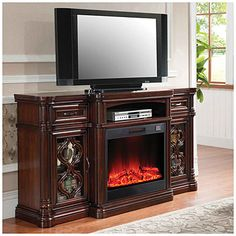60 Quot Espresso Console Electric Fireplace At Big Lots