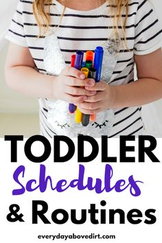 Toddler schedules and routines will make your day go smoothly! Check out the schedule and routine we use every day plus some toddler activities! Parenting Toddlers, Parenting Styles, Parenting Advice, Toddler Routine, Toddler Schedule, Toddler Learning, Toddler Activities, Learning Activities, Everyday Activities