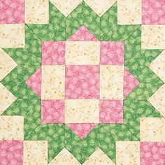 A pretty pieced block called Loyal Daughter by Jennifer Chiaverini.