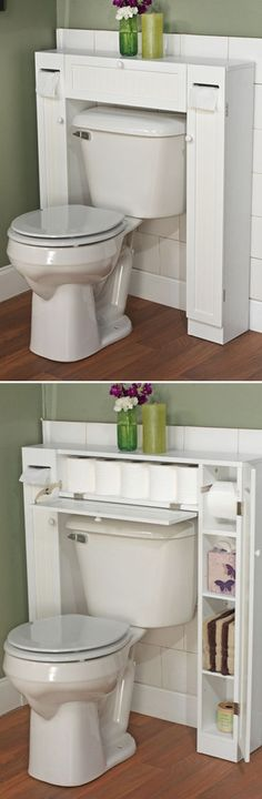 Bathroom Space Saver - clever design for storage Bathroom Organization, Bathroom Storage, Bathroom Ideas, Bathroom Small, Bathroom Hacks, Tiny Bathrooms, Toilet Storage, Downstairs Bathroom, Bathroom Designs