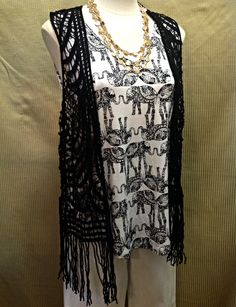 Cupio - Black crochet cover up with fringe - $58