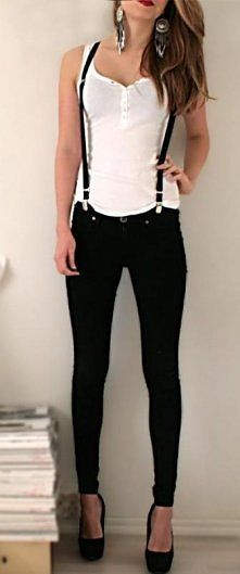 cute outfit with suspenders!