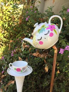 Tea Pot and Tea Cup Garden Decor Vintage Glass Yard Art