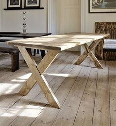 Table made from pine tree.