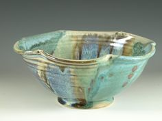 Pottery Turquoise Bowl, fruit bowl, pasta bowl,  handmade and fulted shape. $36.00, via Etsy.