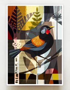 New Zealand Saddleback,print, Indian Art Paintings, Modern Art Paintings, Nz Art, Japon Illustration, Krishna Painting, Geometric Art, Bird Art, Creative Art, Design Art