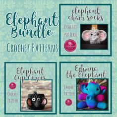 Save off individual patterns! Includes: Edwina the Elephant Elephant Cup cozy elephant Chair Socks See individual listings for complete information. Hand Crochet, Crochet Hats, Chair Socks, Crochet Dog Sweater, Crochet Patterns, Crochet Ideas, Cat Paws, Custom Items, Cup Cozies