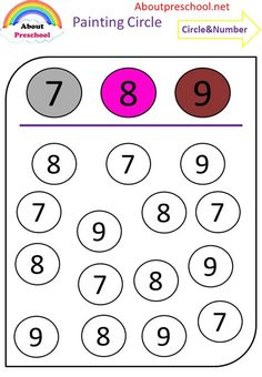 Printable Preschool Worksheets, Kindergarten Math Worksheets, Worksheets For Kids, Alphabet Worksheets, Preschool Learning Activities, Preschool Math, Circle Painting, Numbers Preschool, Math For Kids