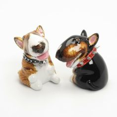 Bull Terrier Dog Ceramic Figurine Salt Pepper Shaker B00010 Ceramic Handmade Dog Lover Gift Collectible Home Decor Art and Crafts by Bull Terrier - madamepOmm -. $59.00. Bull Terrier Dog Lover Ceramic Original Handmade Hand Paint Salt and Pepper Shaker Figurine Ceramic Home Decor Collectibles  Made of ceramic porcelain high fired interior apply clear under-glaze, food safe painted with attention hand painted acrylic paint then apply clear gloss protected.  It's come with rubber s...