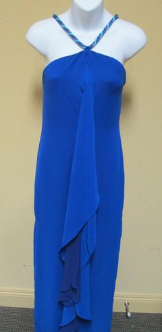 MUSE for BOSTON PROPER Dress Long Braided Straps Blue/Purple/Teal Tiered-Size 6