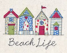 Items similar to Print of machine free motion embroidery and appliqué illustration of a pretty row of beach huts in red, green and blue. 'Beach Life' on Etsy Freehand Machine Embroidery, Sewing Machine Embroidery, Free Motion Embroidery, Free Motion Quilting, Embroidery Applique, Sewing Art, Sewing Crafts, Sewing Projects, Free Sewing