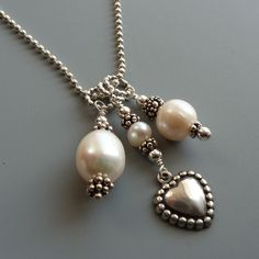 Charming Hearts Sterling Silver and Freshwater Pearl Necklace