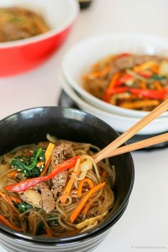 Korean Glass Noodle Stir Fry (Japchae) | MyKoreanKitchen.com