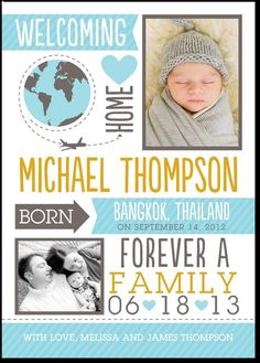Adoption birth announcement