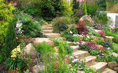 Of Rock Garden Design For Backyard Garden Landscaping With Rocks, Outdoor Landscaping, Front Yard Landscaping, Backyard Landscaping, Landscaping Ideas, Landscaping Software, Backyard Decks, Sloped Backyard, Backyard Ponds
