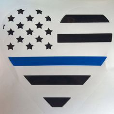 Thin blue line heart decal  includes US by TemperedBlueDesigns