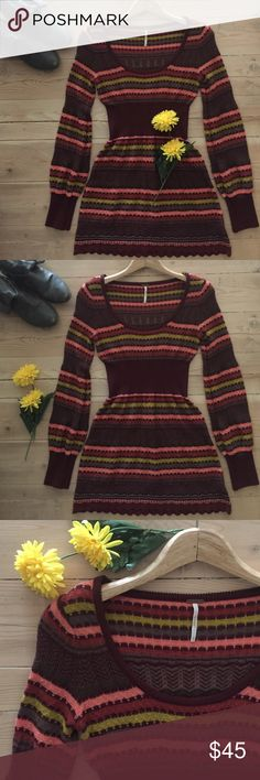 Free People Knit Tunic  Multicolor wool blend striped knit sweater tunic with banded waist, scalloped hem and ribbed sleeves.  69% acrylic, 29% wool and 2% nylon. In excellent, gently used condition. Free People Sweaters