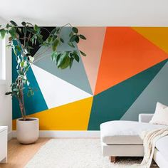 Mural wall in Kids/Youth room - pure white, refuge, saffron strands, raucous orange, true taupewood and quaint peache Modern Geometric 33 Wall Mural The Old Art Studio Diy Wall Art, Wall Decor, Mural Wall Art, Cool Wall Art, White Wall Art, Geometric Wall Paint, Geometric Artwork, Modern Wall Paint, Geometric Painting