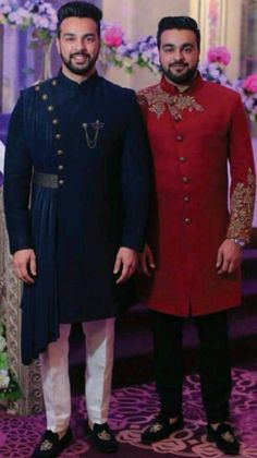 Additional Kurta for Ken. Exact style, design and colour can be navy blue of some sort. The buttons stay as gold. Indian Groom Dress, Wedding Dresses Men Indian, Wedding Dress Men, Wedding Men, Male Wedding Suits, Mens Indian Wear, Mens Ethnic Wear, Indian Men Fashion, Men's Fashion