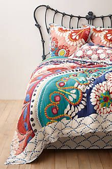 Anthropologie Bedding with some color. also love that bed Dream Bedroom, Home Bedroom, Bedroom Decor, Warm Bedroom, Bedroom Setup, Bedroom Ideas, Master Bedroom, Anthropologie Bedding, Deco Boheme