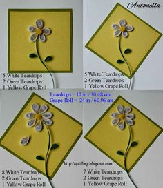 Quick quilling for the beginner, love these simple daisy patterns from Antonella at www.quilling.blogspot.com - Quilling, Art and Expression: Throwback Thursday #tbt