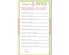 25% Off Sale Digital Printable Wishes for Baby Cards Sugar and Spice in Pink and Lime Green for Baby Showers
