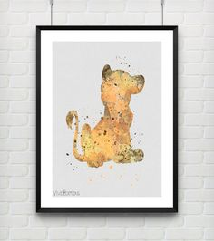 Simba Disney Watercolor Art Poster Print The Lion King by VIVIDEDITIONS
