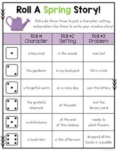 These roll a story boards will get students writing creatively all year long! There are 25 seasonal and themed boards that are packed with creative story starters! writing Roll A Story - Writing Activity 3rd Grade Writing, Kindergarten Writing, Teaching Writing, Writing Prompts, Literacy, Roll A Story, Fairy Tale Activities, Easter Activities, Fairy Tales Unit