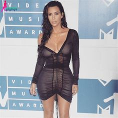 Gagaopt Kim Kardashian Party Dresses Deep V-Neck Sexy Black Mesh Dress Women Pleated Draw String Bodycon Dress Robe