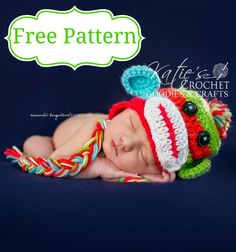 Free Sock Monkey Crochet Hat Pattern - Katie's Crochet Goodies ~ Link correct and pattern is FREE when I checked on March 2015 USA terminology Crochet Bebe, Crochet Baby Hats, Crochet For Kids, Free Crochet, Knitted Hats, Crochet Monkey, Newborn Crochet, Crochet Crafts, Crochet Projects